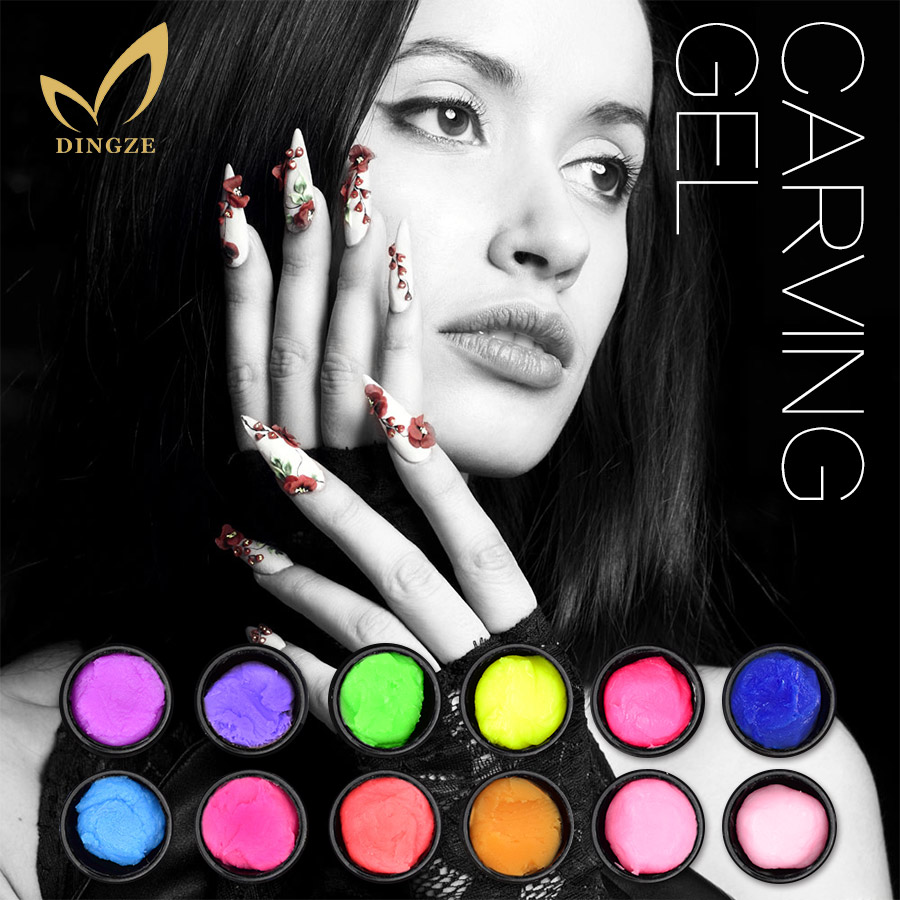 Soak Off Carved Patterns Gel Nail Polish Professional Nail Art Beauty Paint Gel 3D Carving Gel 19 Colors UV LED Modeling Gel(China (Mainland))