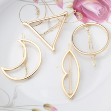 2017 New Brand Hairpins Triangle Moon Hair Pin Jewelry Lip Round Hair Clip For Women Barrettes Head Accessories Bijoux De Tete(China)