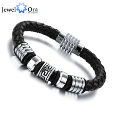 185mm 200mm 215mm Fashion Stainless Steel Genuine Leather Bracelets & Bangles Men Jewelry Gift Ideas For Men (JewelOra BA101170)(China)
