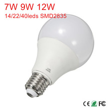 High power E27 7W 9W 12W led lighting AC85-265V 14/22/40leds chips SMD 2835 led bulbs lamps for indoor lighting(China)