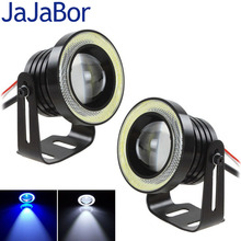 JaJaBor 2PCS Car Led Angle Eyes Light 64MM/89MM 20W/30W 1200LM LED COB Motorcycle Headlight DRL Light Blue White Fog Lamp 12V