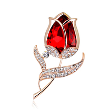 Garment Accessories Fashion Crystal Red Rose Flower Brooch Pin Rhinestone Alloy Rose Gold Brooches For Women Birthday Gift