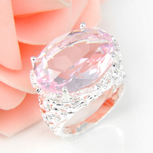 Promotion Oval Pink Fire Crystal Silver Plated Wedding Rings Russia USA Holiday Gift Rings Australia Rings(China)
