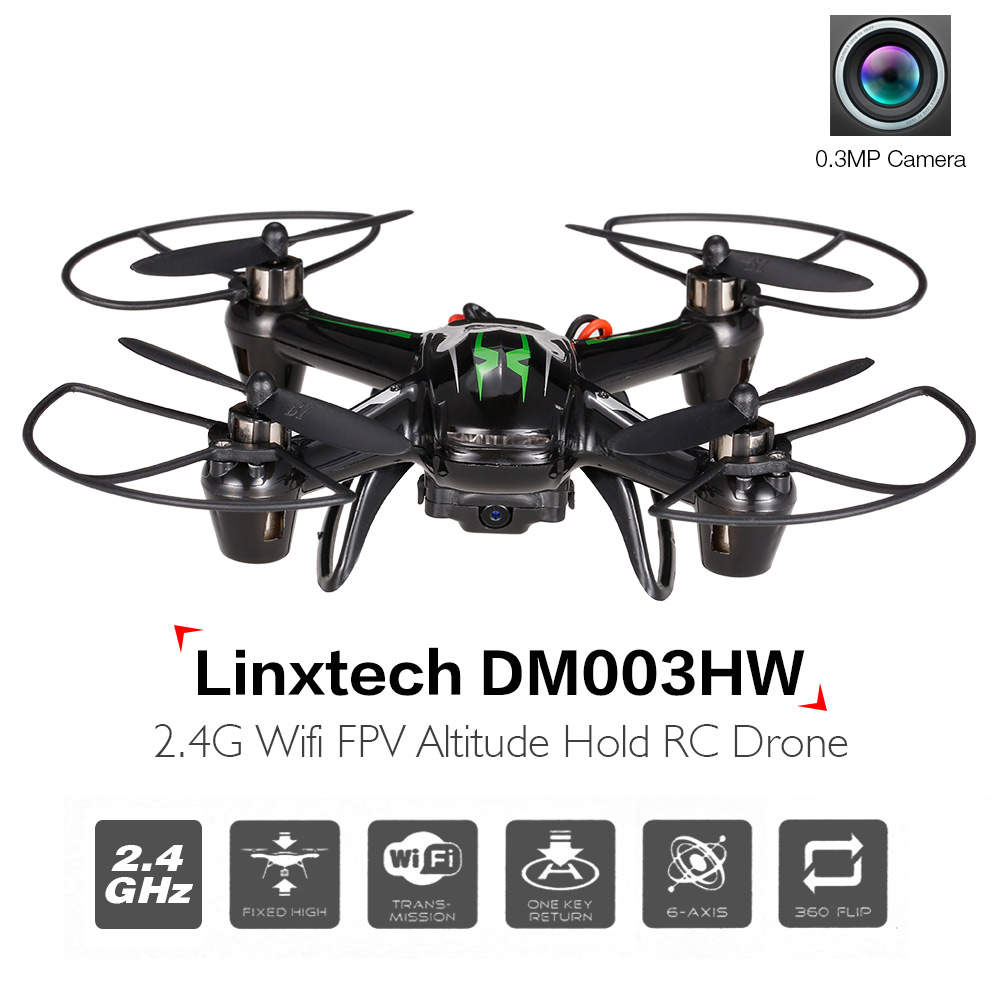 Linxtech DM003HW Wifi FPV 0.3MP Camera 2.4G 6 Axis Gyro Headless Altitude Hold Mini RC Quadcopter RC Photo Helicopter(China (Mainland))
