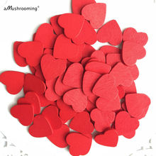 (200pcs/lot) Red 18mm Mini Wooden Hearts Pieces Decor Ideal Art Craft Card Making Wedding Favor