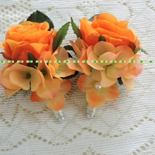 10pc Fabric Artificial Rose Suit Boutonniere Corsage Flower Brooch Pin Wedding Church Decor Purple 4 Color FL167(China)