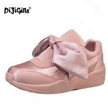 DIJIGIRLS Spring New Fashion Breathable Shoes Women Silk Bow Tie Ribbon Satin Flats Lace-up Casual Comfortable Shoes Pink Green(China)