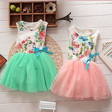 Princess Girls Baby Kids Clothes Ball Gown Party Dresses Bow Cute Summer Floral Tops Fancy Tutu Dress Tulle One-pieces 1-5Y