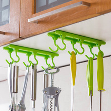 Cupboard Hanging Kitchen Organizer With 6 Hooks Plastic Adjustable Direction 4 Colors Kitchen Storage Rack Hanger Cabide Shelf(China)