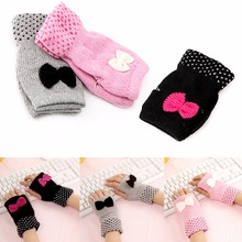 New Women Fashion knitted Mittens Cute Bowknot Fingerless Wrist Gloves Warm Hand Black/Pink/Gray