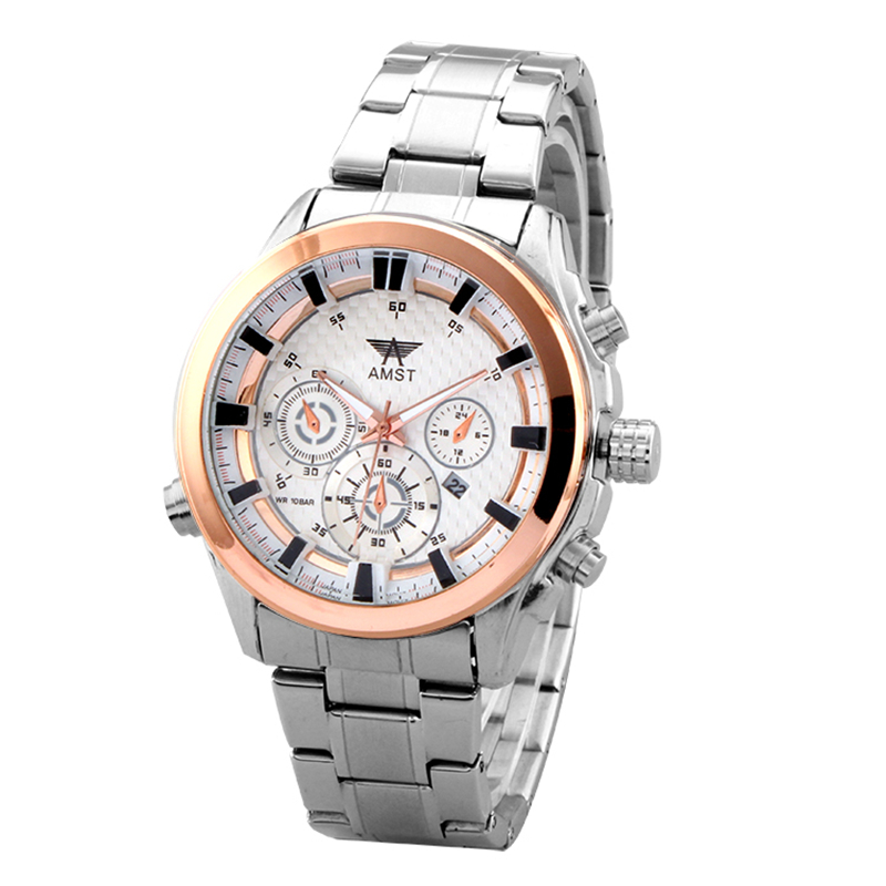AMST Brand Men Stainless Steel Business Quartz Watch Date Casual Waterproof Fashion Military Wristwatches With Gift Box 2016 New<br>