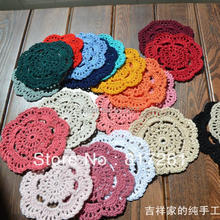 Free shipping wholesale 24 color 50 pic 10 cm round table mat crochet coasters zakka doilies cup pad props for lampshade(China)