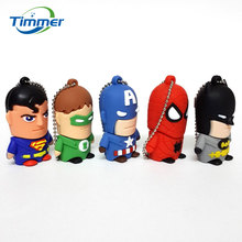USB 2.0 Pen Drive Cartoon Fancy SUPER HERO MAN USB Flash Drives Thumb Spiderman Memory Stick Pendrive 32GB Bulk Cheap Gift