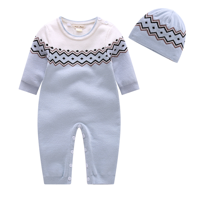 Auro Mesa [ Baby Knitted Jumpsuits + Hat ] Newborn Baby Boys Winter Clothes Think warm baby clothing Rompers<br><br>Aliexpress
