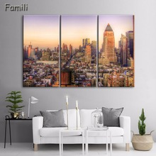 Modern 3pcs Modular Poster Board Framed Canvas Oil Painting New York Manhattan Pictures City Landscape Wall Art For Living Room(China)