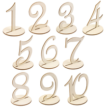 MDF Wooden 10cm Table Numbers 1-10 Base Set Wedding Birthday Party Wedding Table Decoration Number Holder Party(China)