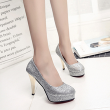 Bride wedding shoes bridesmaid gold silver high heels fine with pointed 8CM sequins shallow mouth waterproof shoes