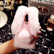 Cute Rabbit Fur Case For Xiaomi Redmi 4 Pro Redmi 4 Prime 16GB 32GB Redmi 4S Prime Xiaomi Redmi 4 5 Inch Diamond TPU Phone Bags(China)