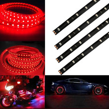 4PCS Universal 30CM/15 LED Car Motors Truck Flexible Strip Light Waterproof 12V Light Source &Wholesale(China)