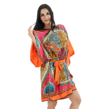 Orange Women's Kimono Bath Gown Silk Rayon Robe Dress Chinese Style Nightshirt Loose Casual Sleepwear Flower(China)