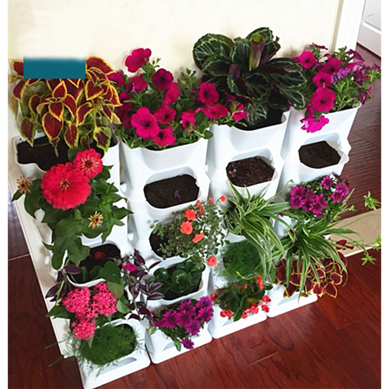 6pcs Pack Plastic Flower Pot Balcony Wall Combination Hanging Pots Home Decoration Garden Arts Fruit Plants Vases
