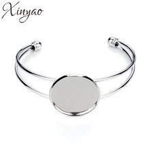 XINYAO Silver Color Blank Bracelet Bangle Base Fit 20 25 mm Cabochon Settings Cameo Tray Diy Jewelry Making Accessories F3086(China)