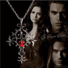 The Vampire Diaries necklace vintage cross pendant red heart gothic jewelry for men and women wholesale C427