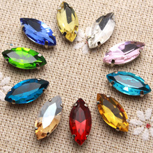 50pcs 7*15mm Crystal Colorful Navette Sew On Rhinestone With Claw Setting Silver Back Fancy Stone With Metal Claw With Holes(China)