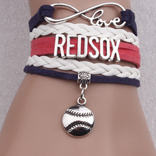 "Men's Leather Jewelry with Silver Plated Letter of "" REDSOX"" Infinity Charm Football Braided Leather Bracelet Bangles for Men(China)"