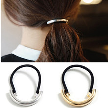 T104 Gold Color Silver Headbands Rubber Band Hair Accessories Metal Band Gum for Hair Ponytail Headband Hair Accessories Lady