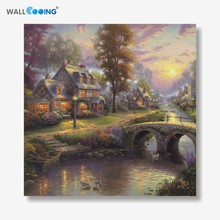 Classic Landscape Painting On Canvas The Warm home From Thomas Canvas Print Living Room Wall Art christmas decorations for home(China)