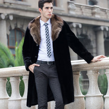 Big Fur Collar Faux Mink Fur Coat Men Plus Size 5XL 4XL Black Long Mens Leather Jacket Winter Warm Trench Outerwear Male Clothes