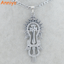Anniyo Silver Color Ethiopian Cross Pendant Necklaces Jewelry Women Men Eritrea/Libya/Congo/Nigeria/Kenya African Coptic Item