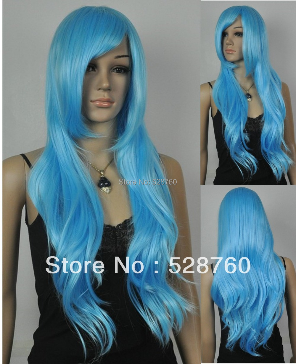 75cm Long wavy blue Cosplay Costume wig Anime lolita Wig Women Party Wig  Free shipping<br><br>Aliexpress