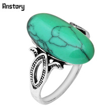 Leaf Design Green Stone Rings For Women Vintage Antique Silver Plated Cocktail Party Gift Fashion Jewelry R015(China)