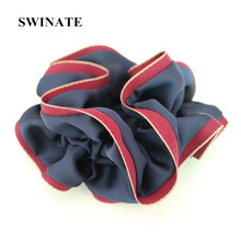Fashion Women Soft Satin Fabric Patchwork Hairband Hair Tie Elegant Hair Scrunchies for Office Ladies Daily Wear 5 Colors