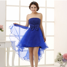 modest low cut back blue gown dresses front short and long back asymmetrical vintage elegent high low prom dress 2017 H1056