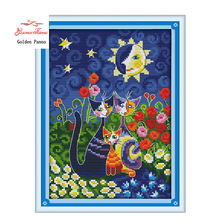 Golden Panno,Joy Sunday cross stitch kits Cat sun carton diy DMC14CT11CT cotton fabric livingroom baby room kid toy painting 923