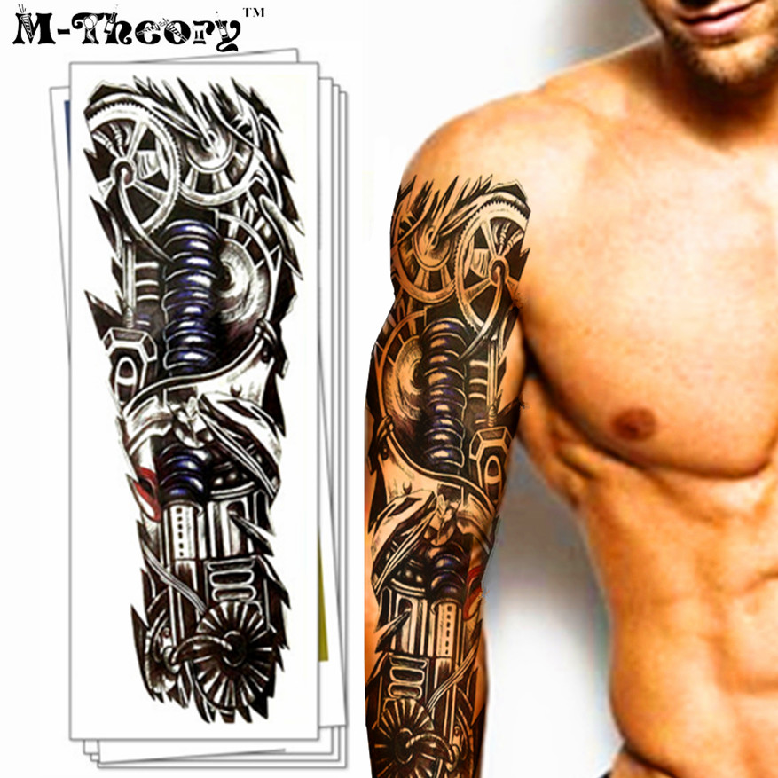 M-Theory Waterproof 3d Arm Sleeve Makeup Temporary Tattoos Sticker Henna Flash Tatoos Body Arts Swimsuit Makeup Tools