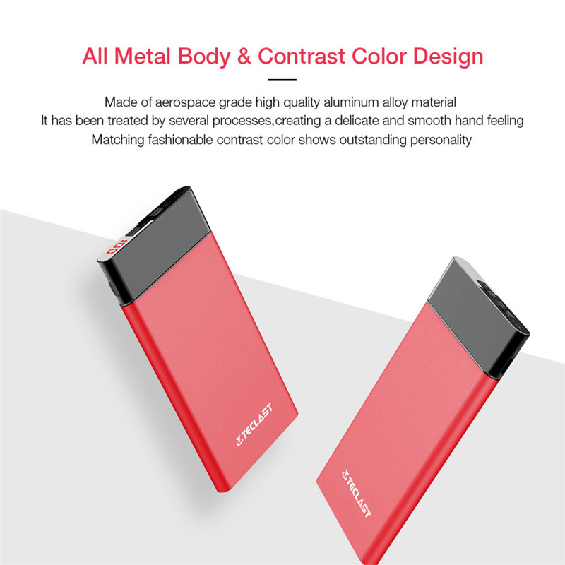 Teclast T100UC-R Power Bank 10000Mah Ultra-thin Red Portable Charger iPhone & Android Smartphone Power Charger Backup Power