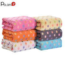 New 100% Cotton Bath Towel 70x140cm Colorful Dot Printed Thick 400g Jacquard Beach Towel Soft Home Hotel Big Towels Quick-Dry(China)