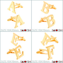 Luxury Gold-color 26 Letters Cufflinks for Mens Shirt Cuff Accessories High quality Cufflinks Wedding SAVOYSHI Brand Jewelry(China)