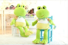 middle creative new lovely plush frogs toy soft cute frog doll with bow bitthday gift about 80cm green
