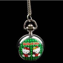 10 piece /lot New silver hello kitty quartz pocket watch necklace woman kids best gift pendant Time