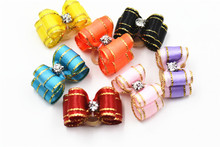 20/50/100pcs /set diamond bling style pet hair bows wholesale pet hair accessories elastic bands candy color dog pet bows(China)