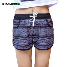 KISSyuer 2017 fashion Quick-drying womens board shorts Stripes geometry shorts women couples Casual summer holiday short KBS1051