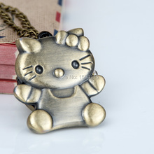 New Cartoon Bronze Hello Kitty Pocket Watch Necklace Vintage Jewelry wholesale Korean sweater chain  fashion pocket watch