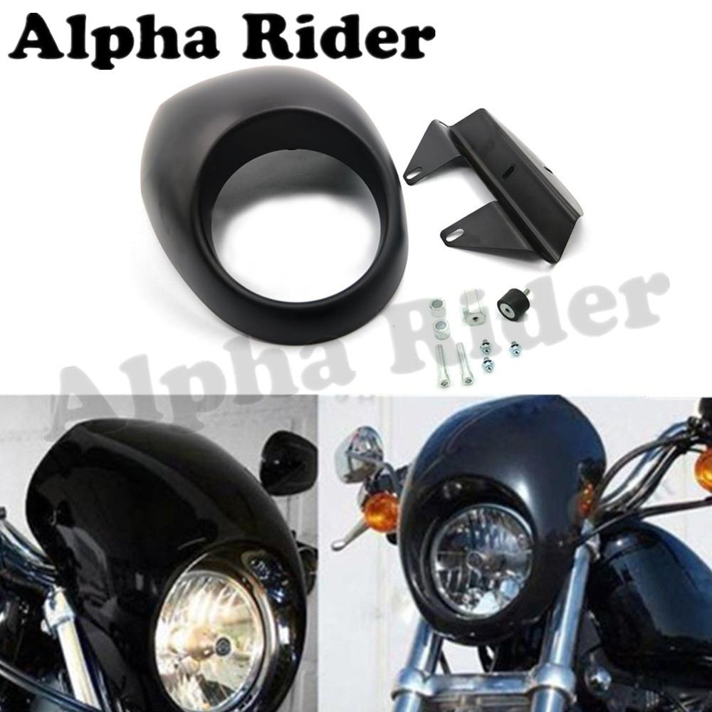 New Headlight Mask Fairing Front Cowl Cafe Racer Style Flyscreen Visor for Harley Drag Dyna Glide Sportster XL 883 1200 V-Rod FX<br>