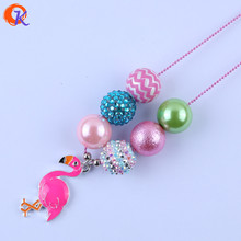 Fashion Jewelry Chunky Bubblegum Alloy Cartoon Character Flamingo Pendant Bead Chain Handmade DIY Necklaces For Baby CDLN-0023
