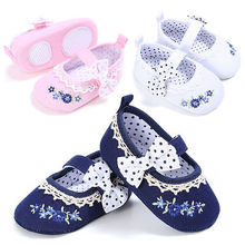 Newborn to 18M Infants Baby Girl Princess Soft Crib Shoes Prewalker Sole First Walkers Shoes(China)